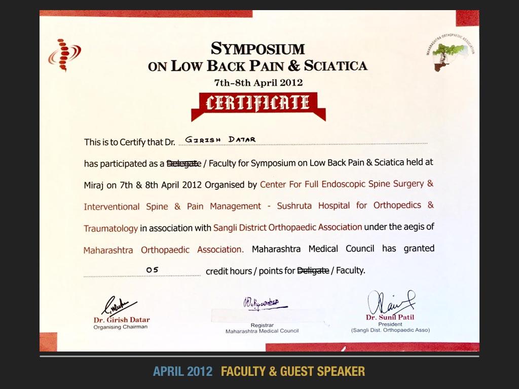 April 2012 Faculty & Guest Speaker