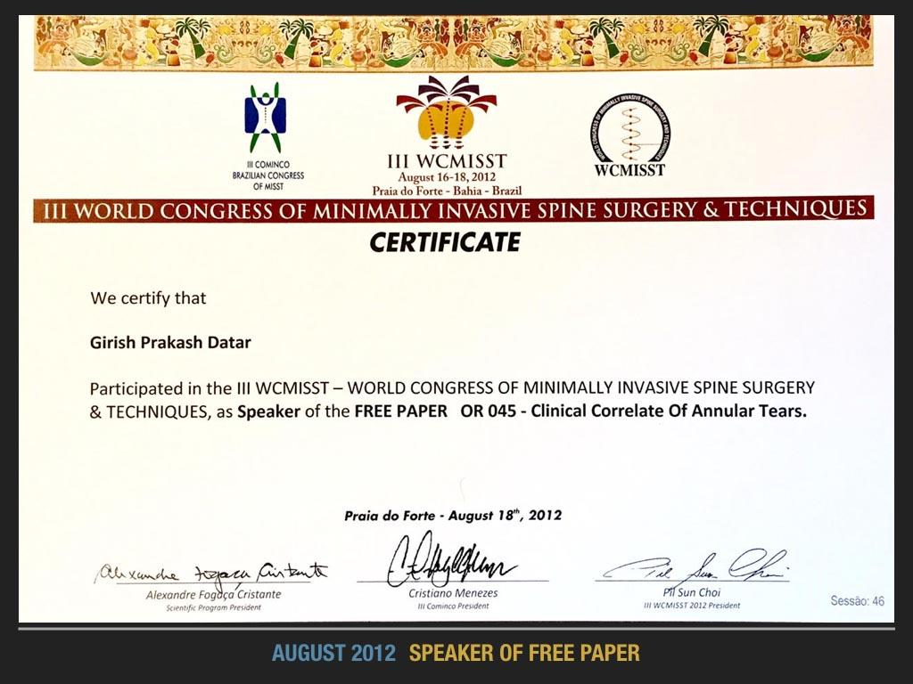 August 2012, Speaker of Free Paper